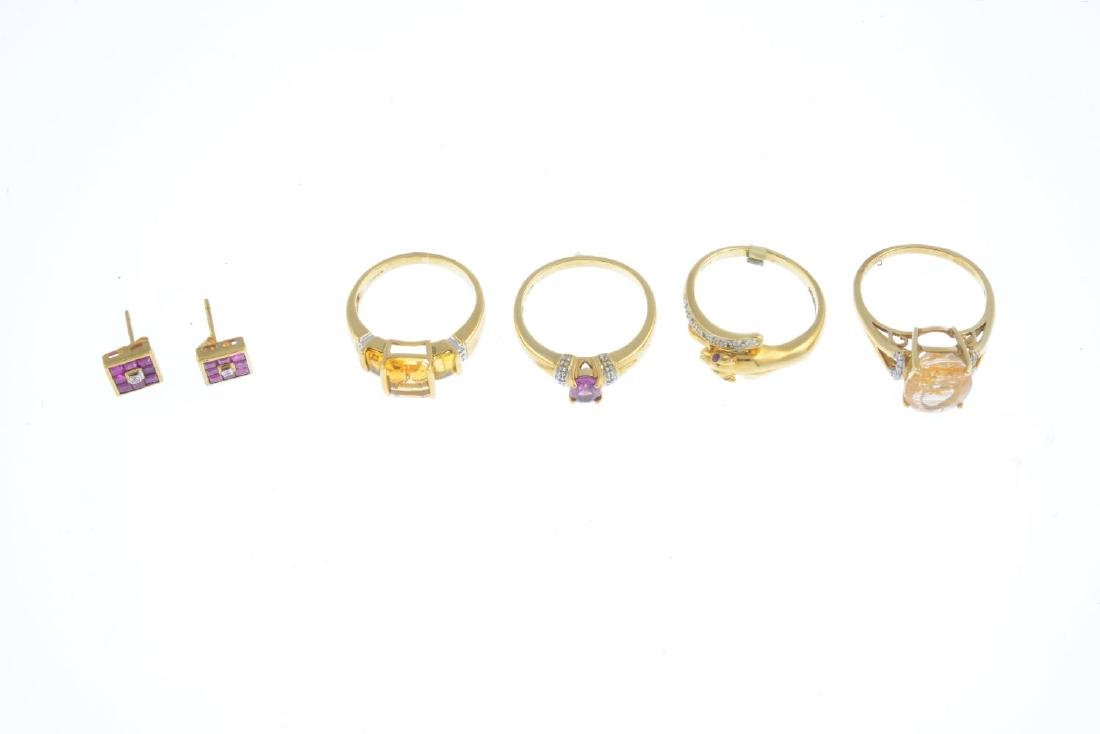 Four 9ct gold gem-set rings and a pair of earrings. To - 2