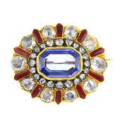A late Victorian gold and silver Sri Lankan sapphire,