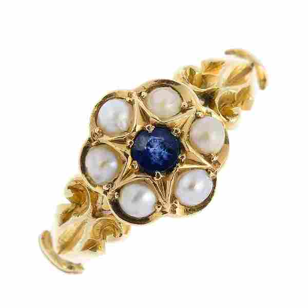 An early 20th century 18ct gold sapphire and split