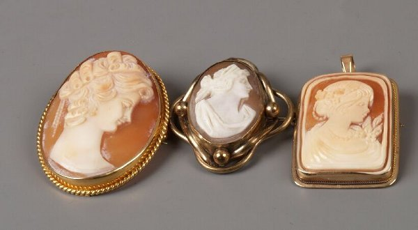 4: Three cameo brooches to include two 9ct gold framed