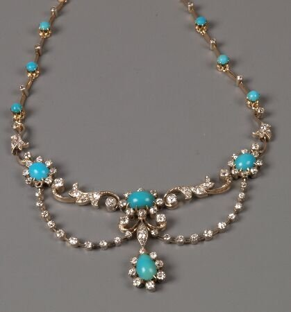 14: Diamond and turquoise necklet with centre scrolling
