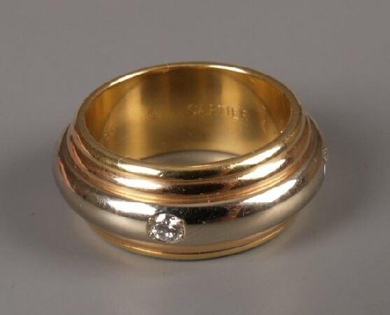19: Cartier - 18ct tri-colour gold diamond set band rin