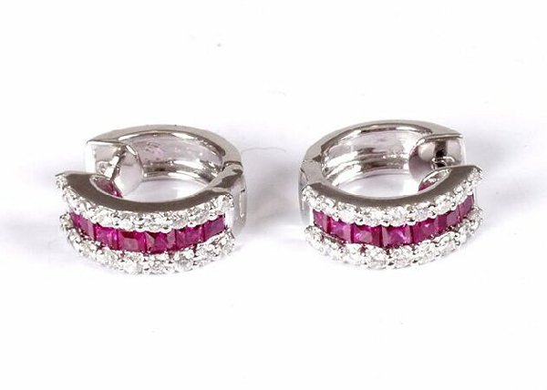 290: Pair of white gold ruby and diamond three row hoop
