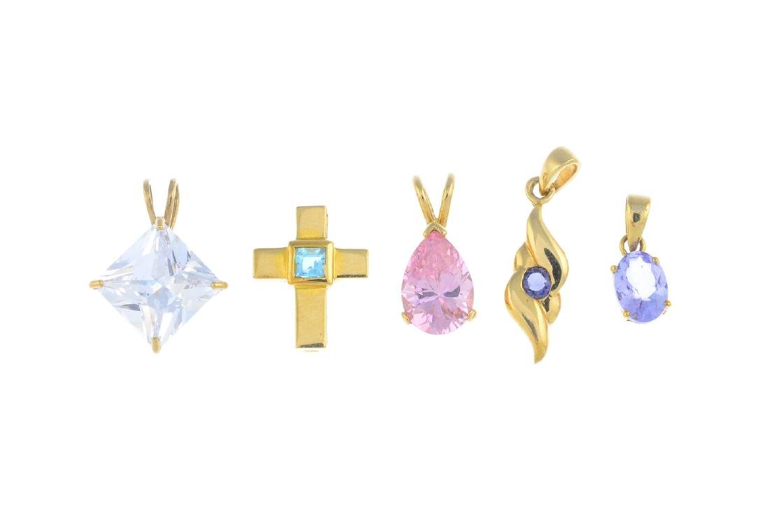 Five gem-set pendants. To include a 9ct gold blue topaz - 2
