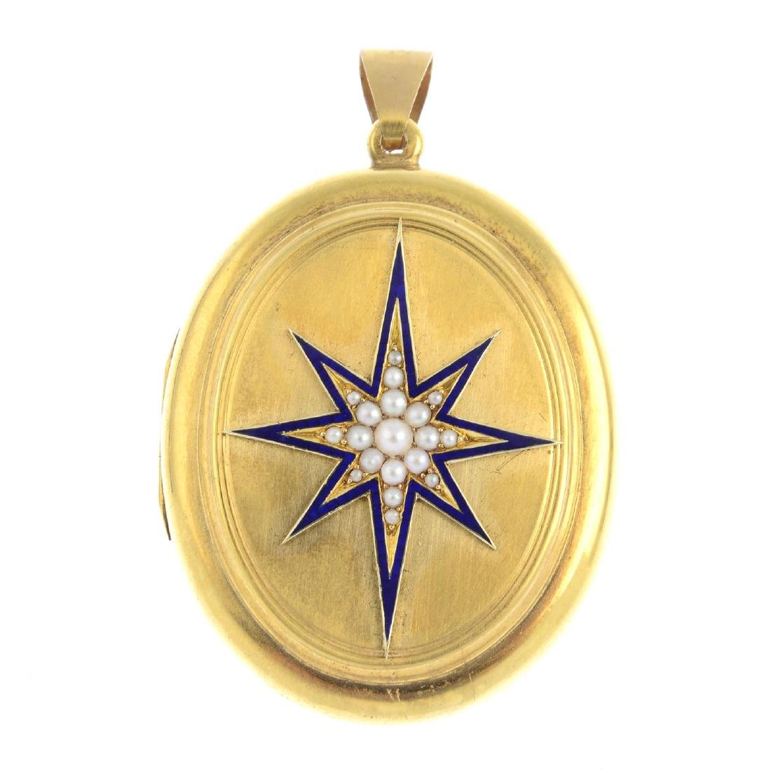 A mid Victorian gold split pearl and enamel locket. The