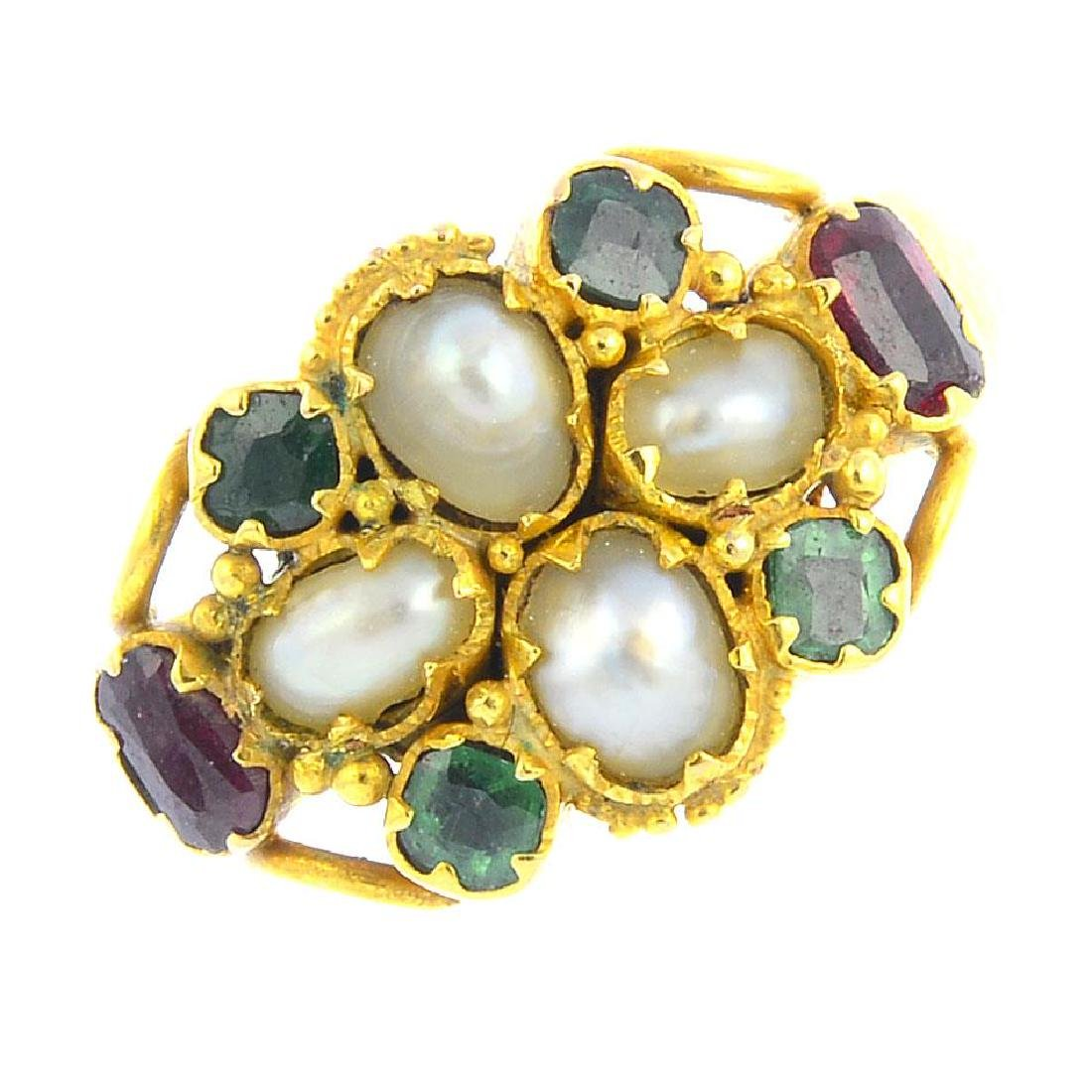 A mid Victorian 15ct gold, split pearl and paste ring.