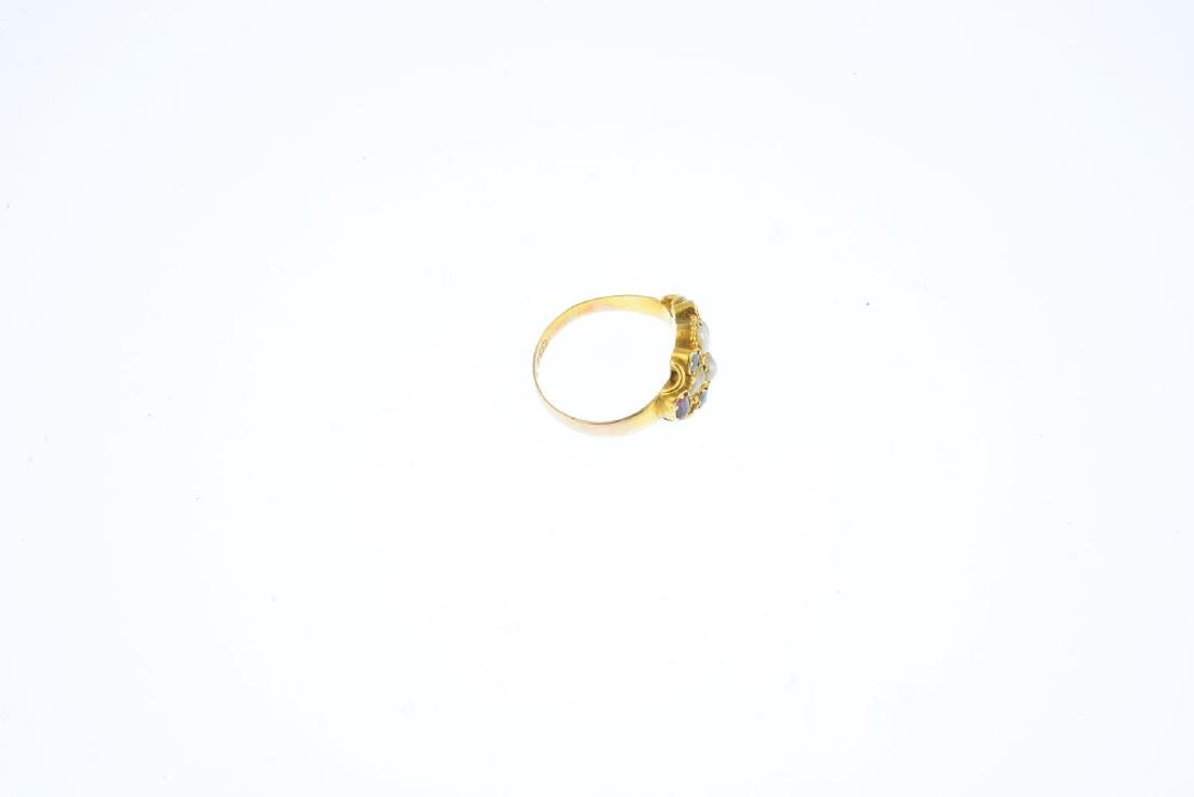 A mid Victorian 15ct gold, split pearl and paste ring. - 3