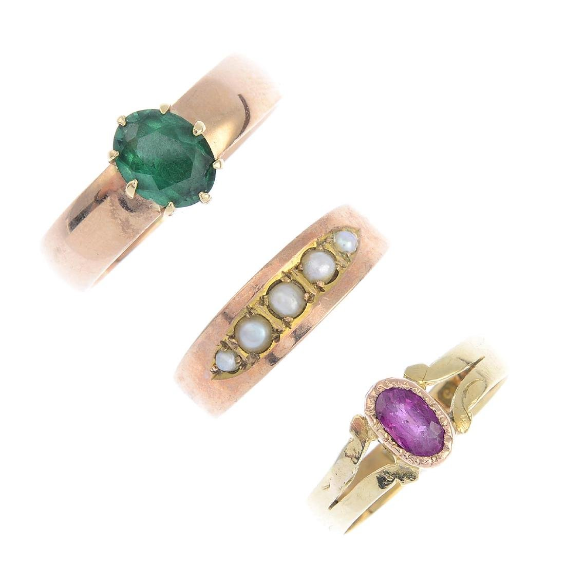 Three Victorian gold gem-set rings. To include a mid