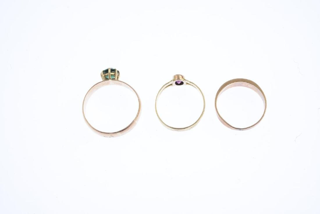 Three Victorian gold gem-set rings. To include a mid - 2