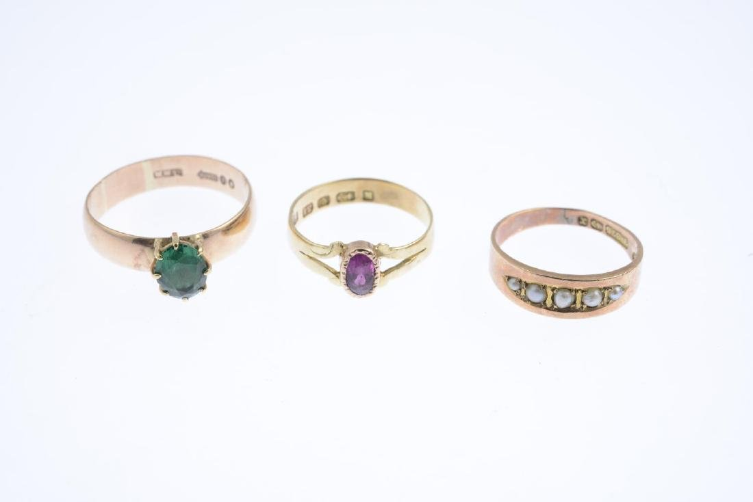 Three Victorian gold gem-set rings. To include a mid - 3