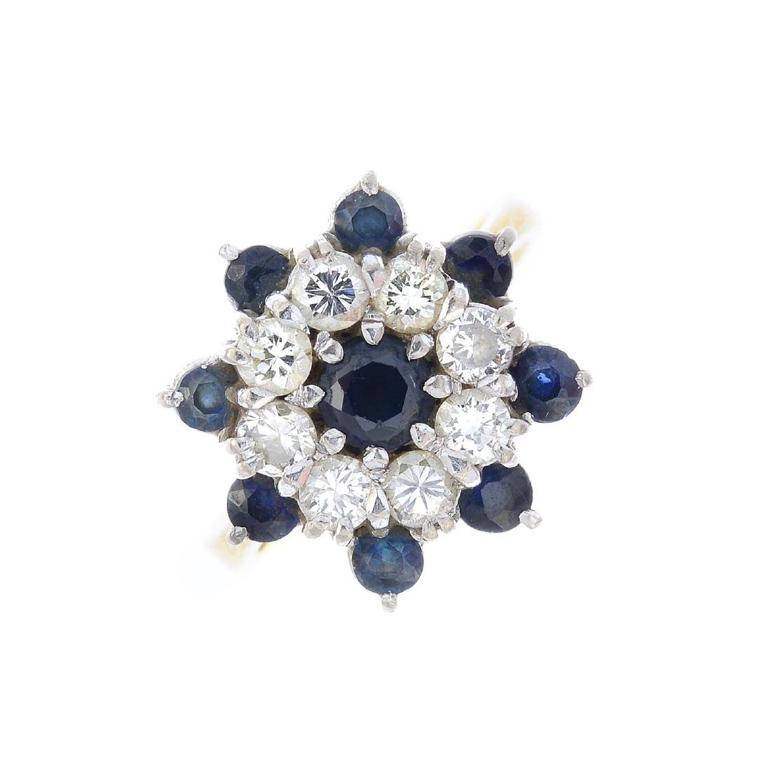 A mid 20th century 18ct gold sapphire and diamond ring.