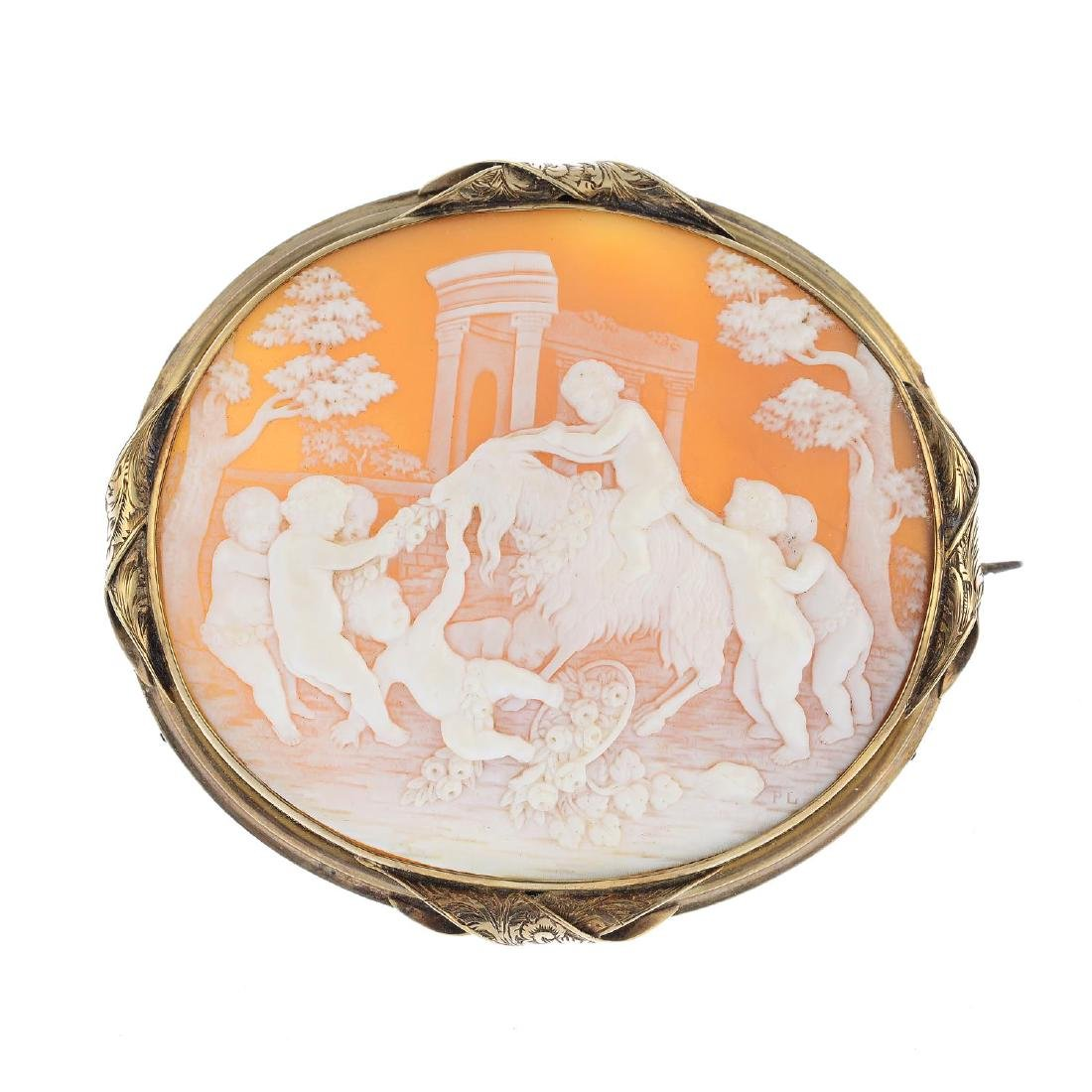 A mid Victorian gold shell cameo brooch. Of oval