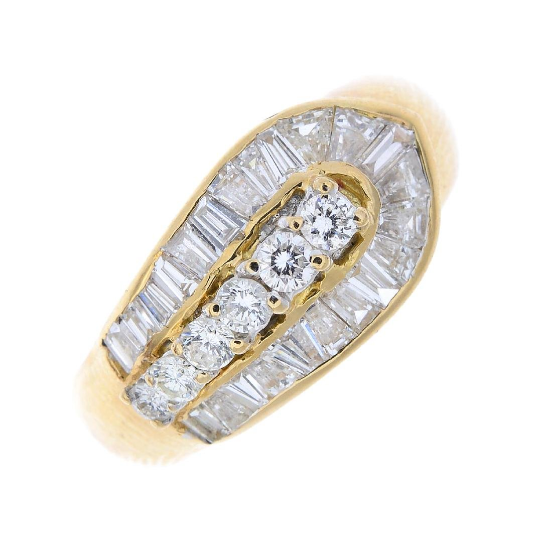 A diamond dress ring. The brilliant-cut diamond line,
