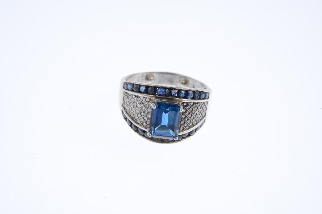 A topaz, sapphire and diamond dress ring. The - 3