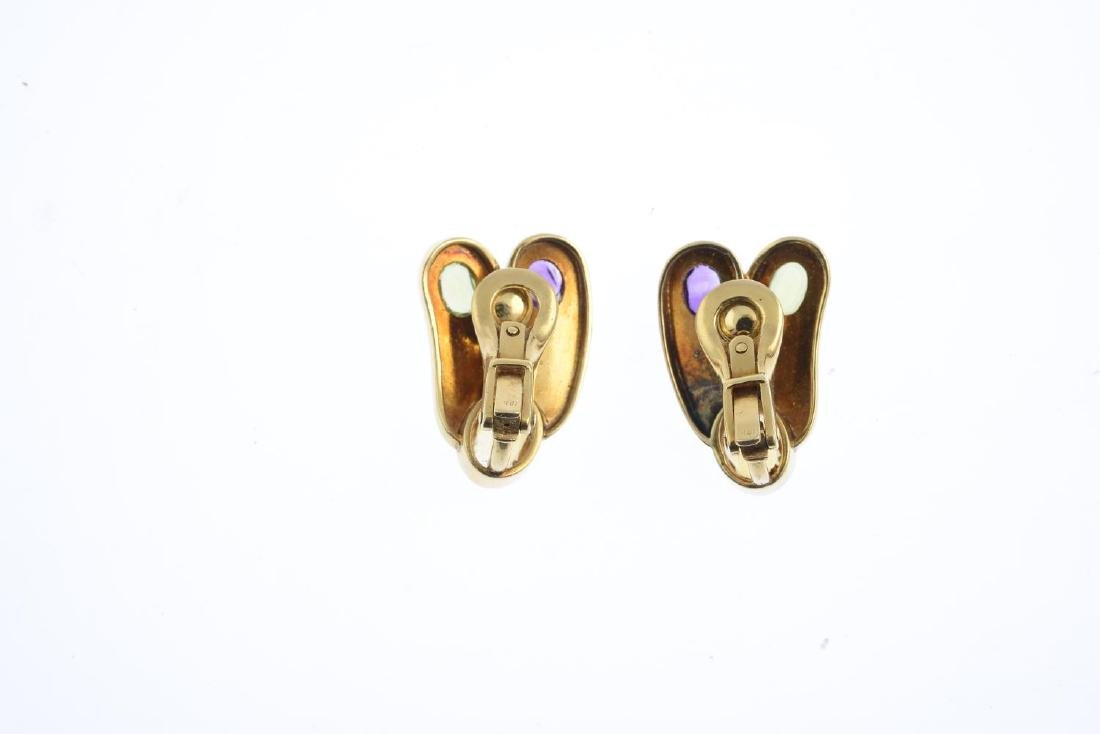 A pair of gem-set earrings. Each designed as two - 2