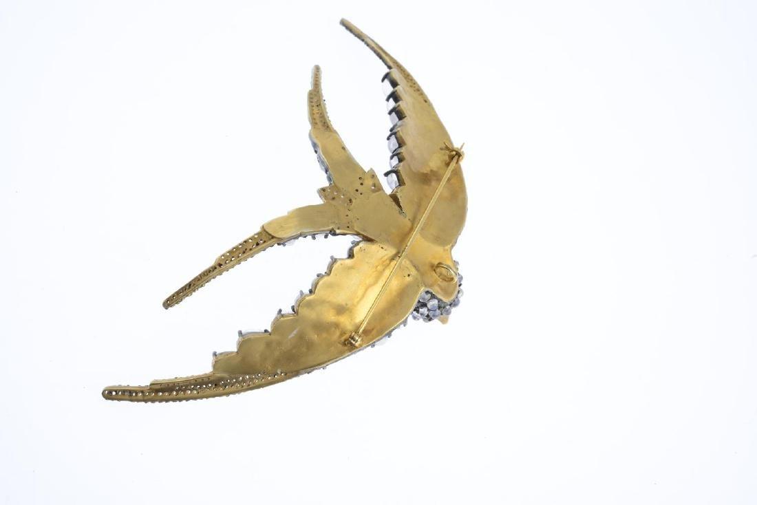 A gem-set brooch. Designed as a swallow, set throughout - 2