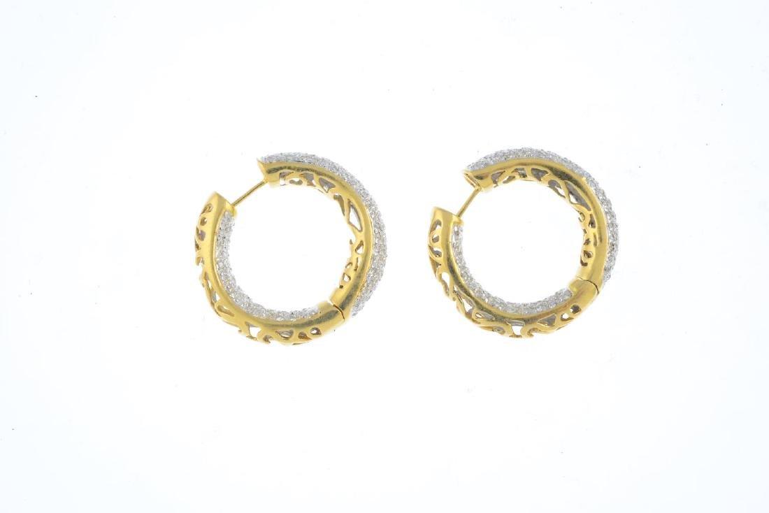 (205944) A pair of diamond hoop earrings. Each of - 2