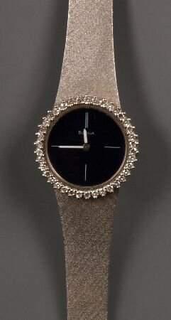 BULOVA - 18k white gold ladies watch with diamond