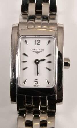 LONGINES - a ladies stainless steel rectangular w