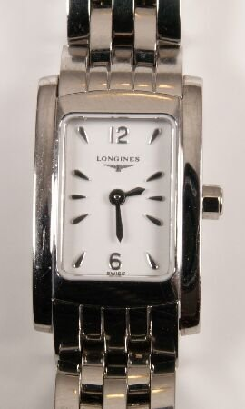 1016: LONGINES - a ladies stainless steel rectangular w