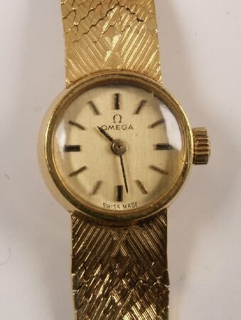 1020: OMEGA - 18ct gold small cased ladies wristwatch w