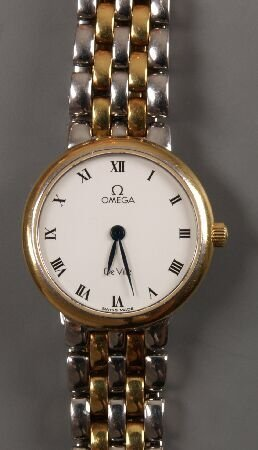 1022: OMEGA - a ladies steel and gold plated De Ville b