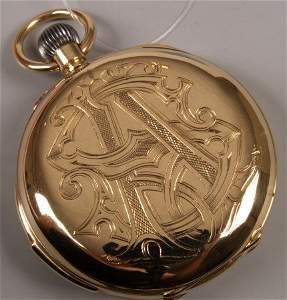 1265: 18k gold Swiss full hunter pocket watch with quar
