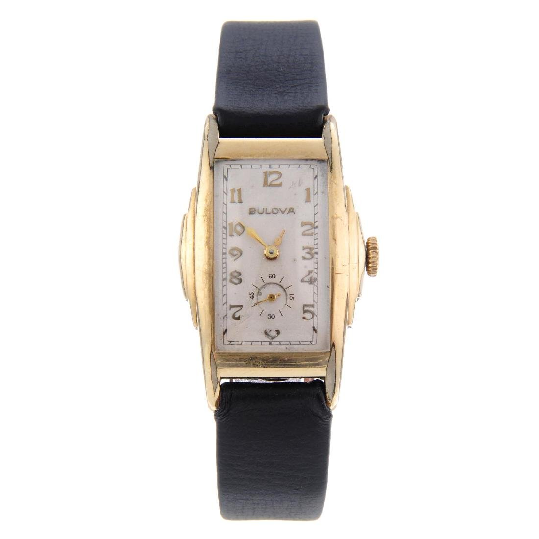 BULOVA - a gentleman's wrist watch. Gold plated case