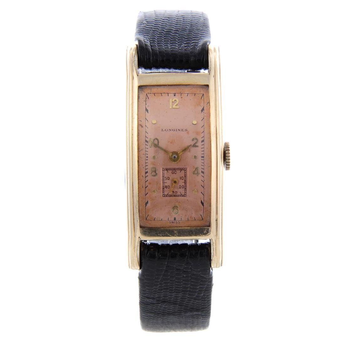 LONGINES - a gentleman's wrist watch. Gold plated case.