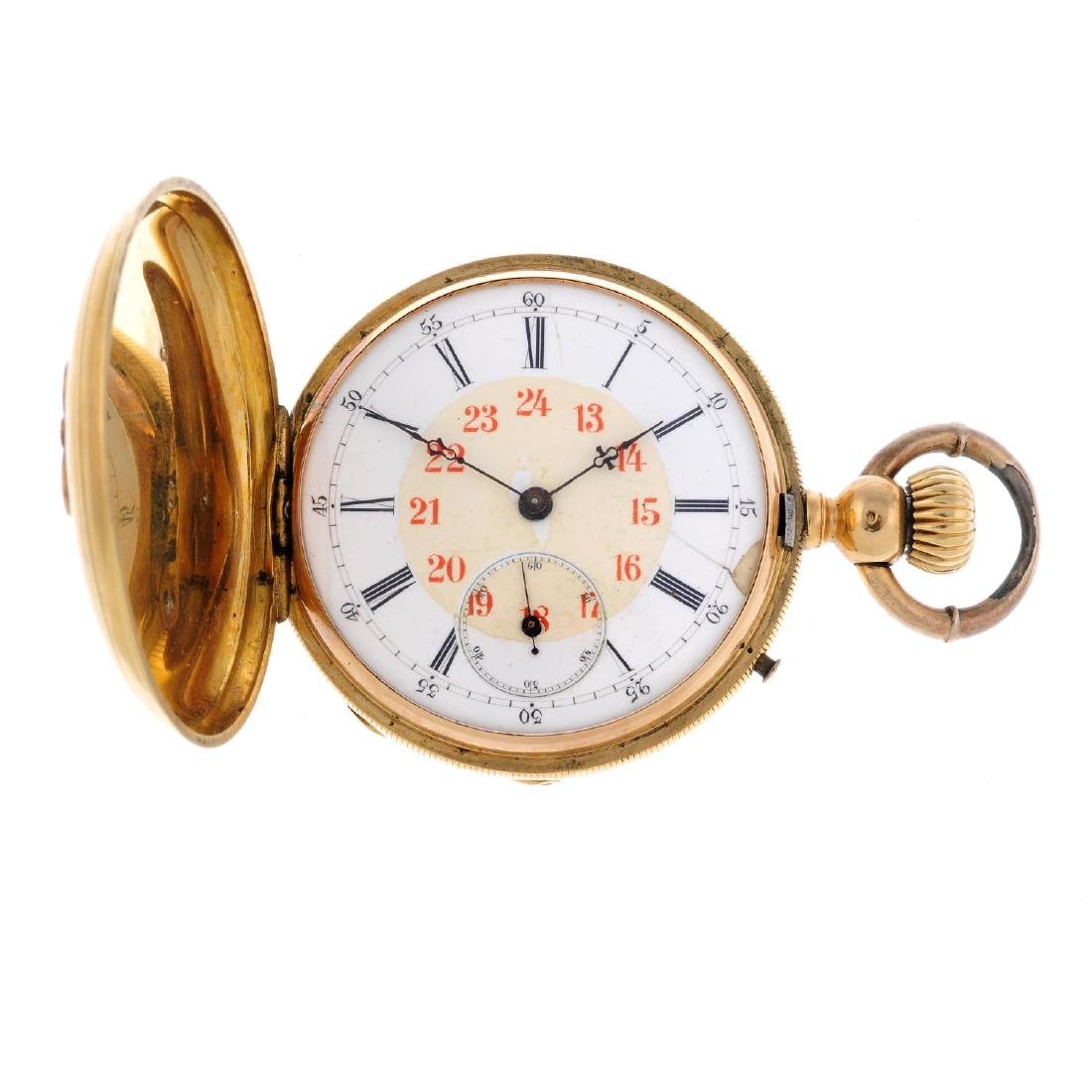 A full hunter pocket watch. Yellow metal case, stamped