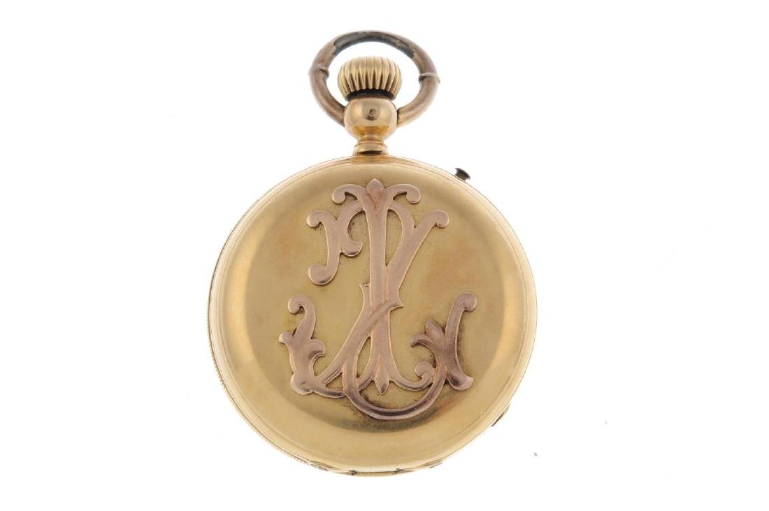 A full hunter pocket watch. Yellow metal case, stamped - 2