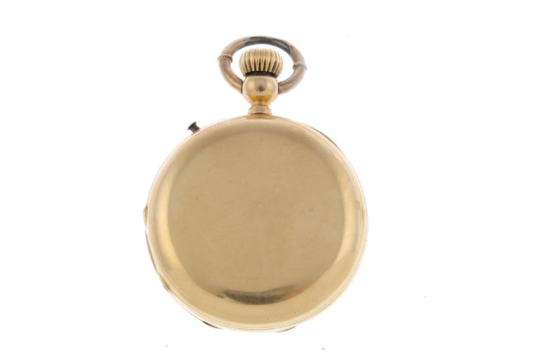 A full hunter pocket watch. Yellow metal case, stamped - 3