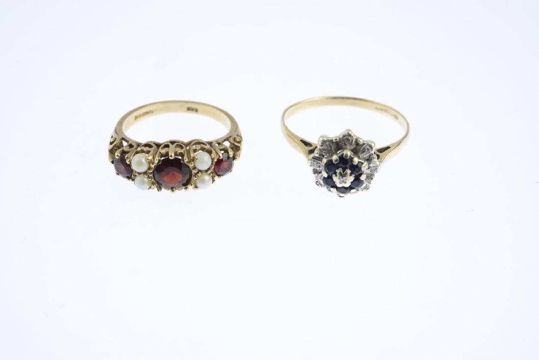 Five gem-set rings. To include a 9ct gold garnet and - 2