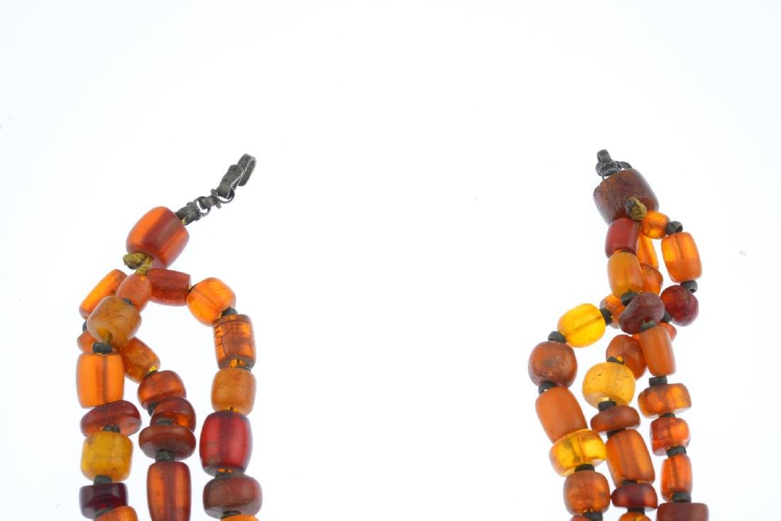 An amber necklace. Comprising a series of vari-shape - 2