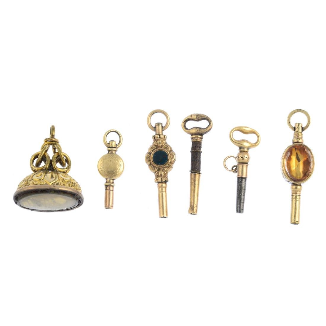 Six late 19th century and early 20th century watch keys