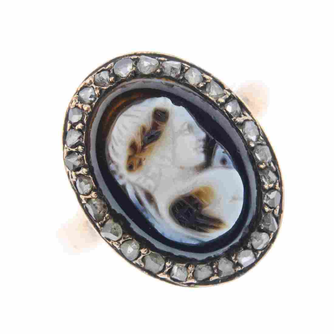 A mid Victorian gold agate cameo diamond cluster ring.