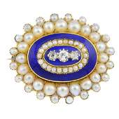 A late Victorian gold diamond, enamel and split pearl
