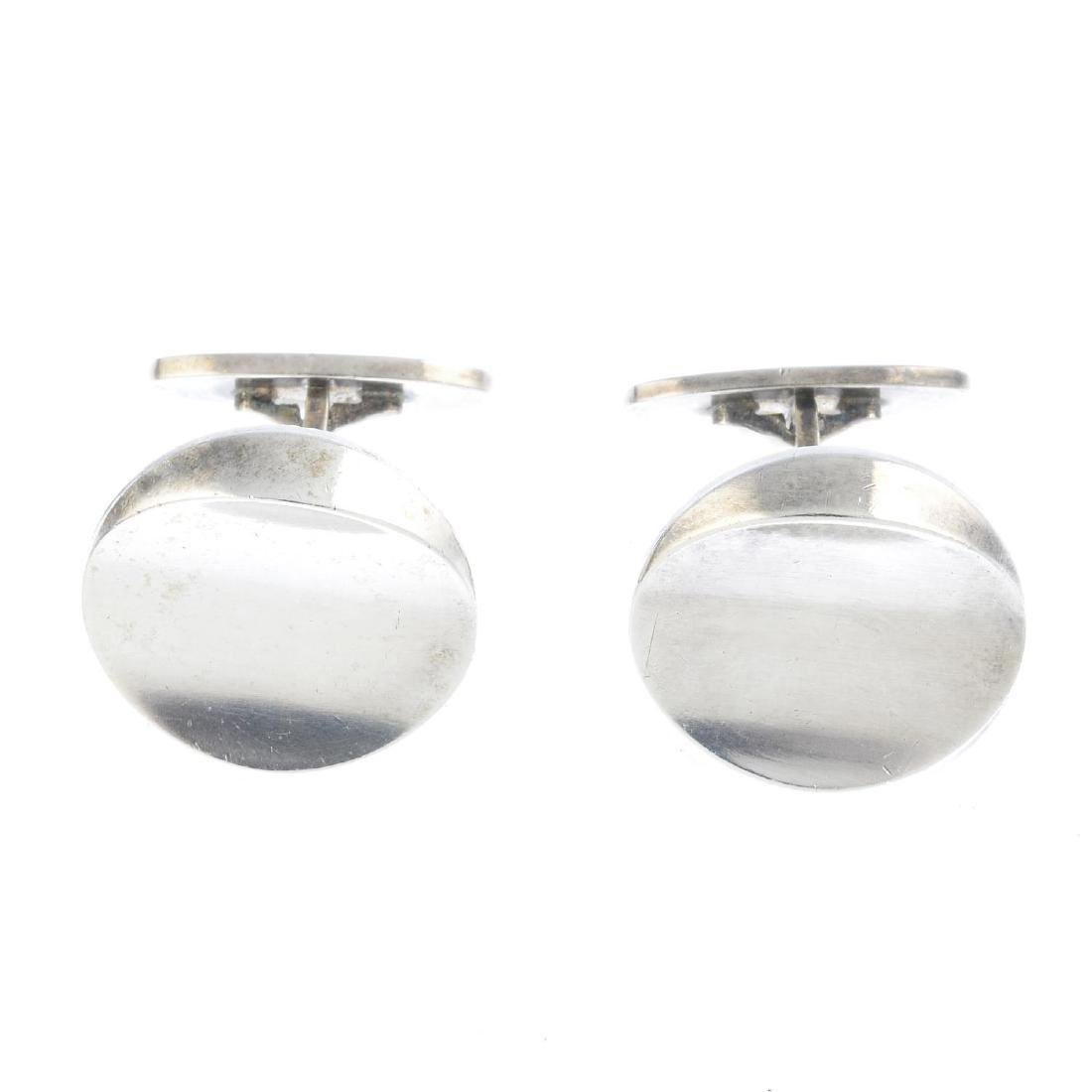 GEORG JENSEN - a pair of cufflinks. Each designed as a