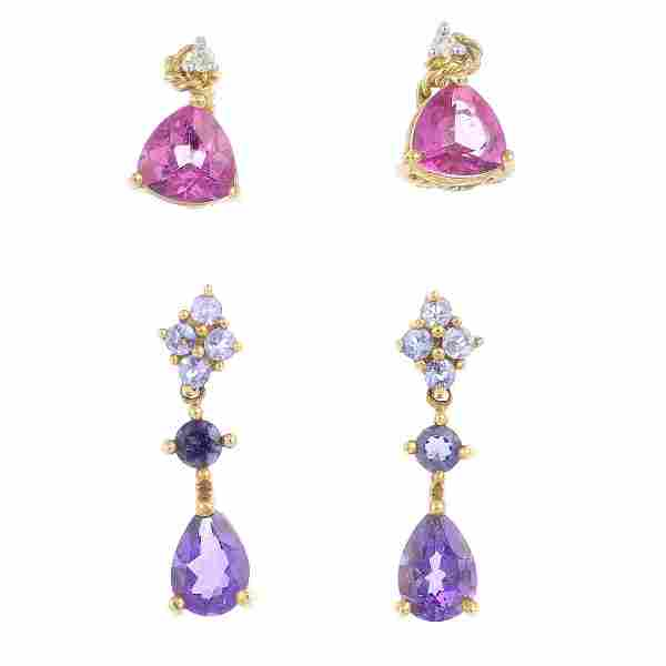 Five pairs of diamond and gem-set earrings. To include