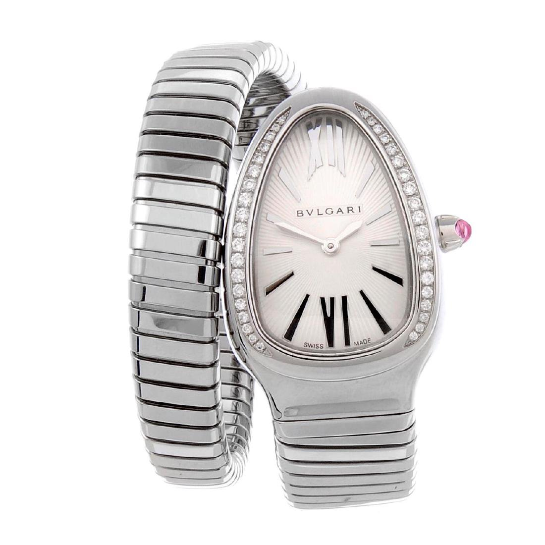 BULGARI - a lady's Serpenti Tubogas bracelet watch.