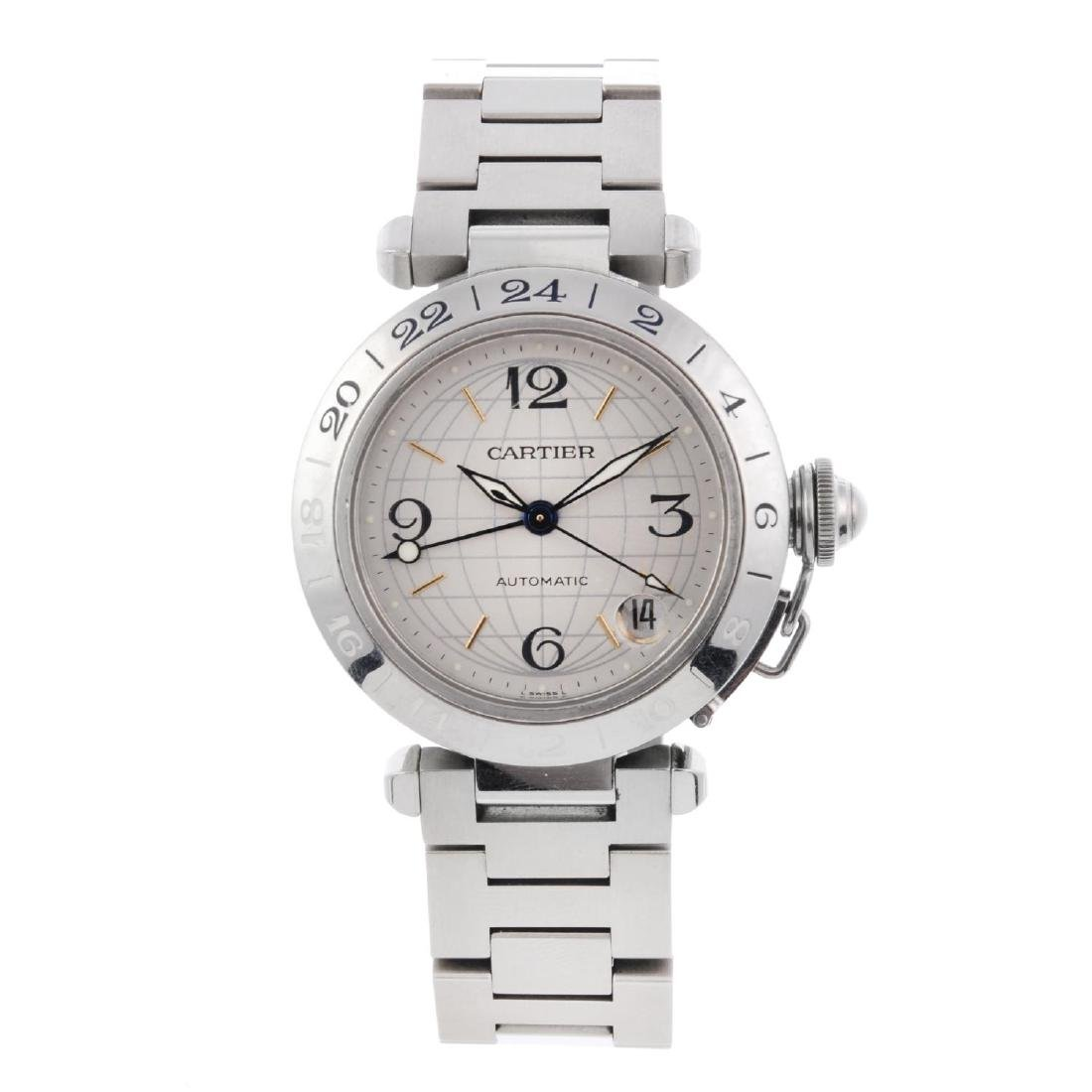 CARTIER - a Pasha GMT bracelet watch. Stainless steel