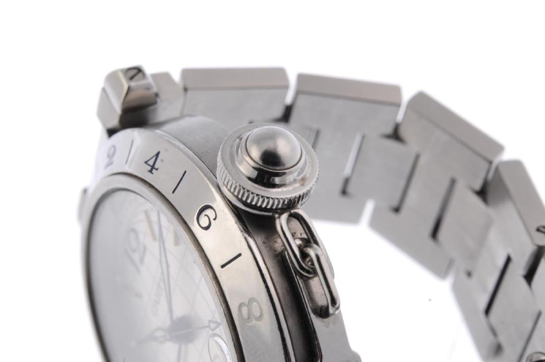 CARTIER - a Pasha GMT bracelet watch. Stainless steel - 4