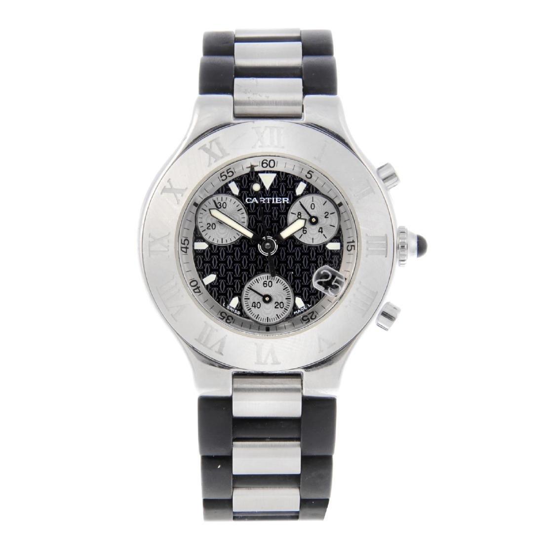 CARTIER - a Chronoscaph 21 chronograph wrist watch.