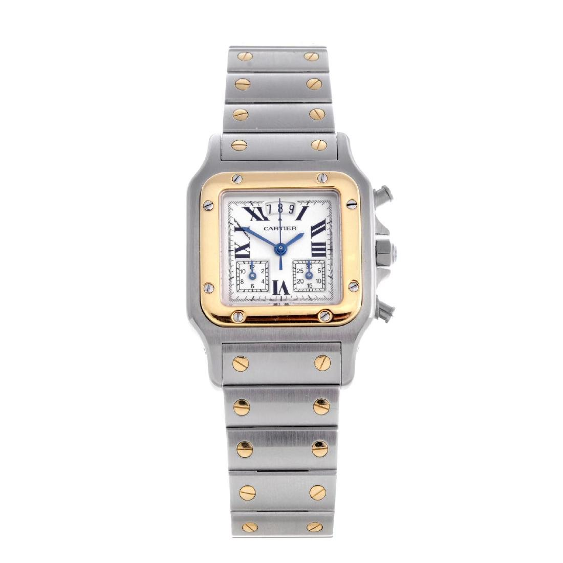 CARTIER - a Santos chronograph bracelet watch.