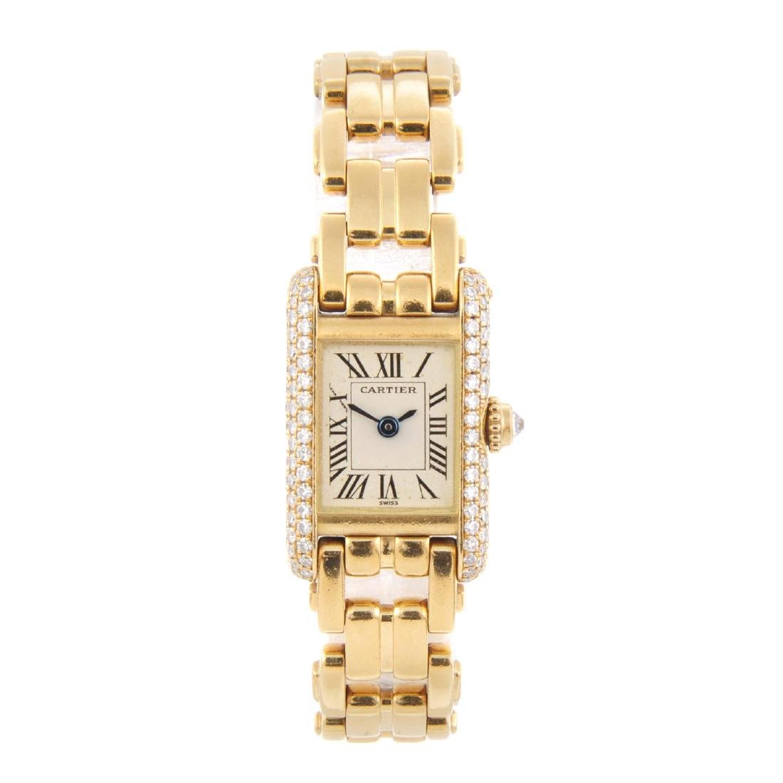 CARTIER - a Mini Tank bracelet watch. 18ct yellow gold