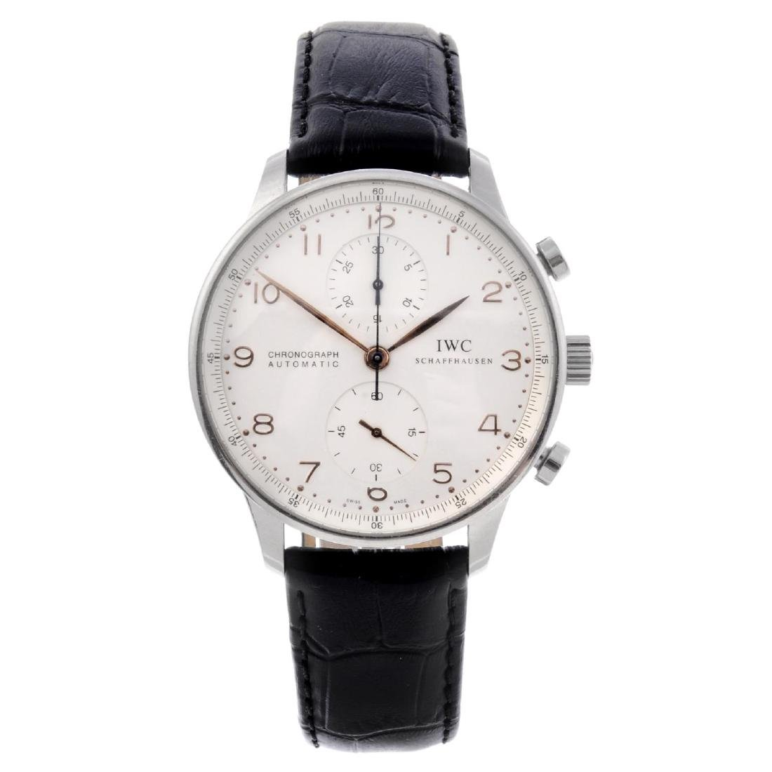 IWC - a gentleman's Portuguese chronograph wrist watch.