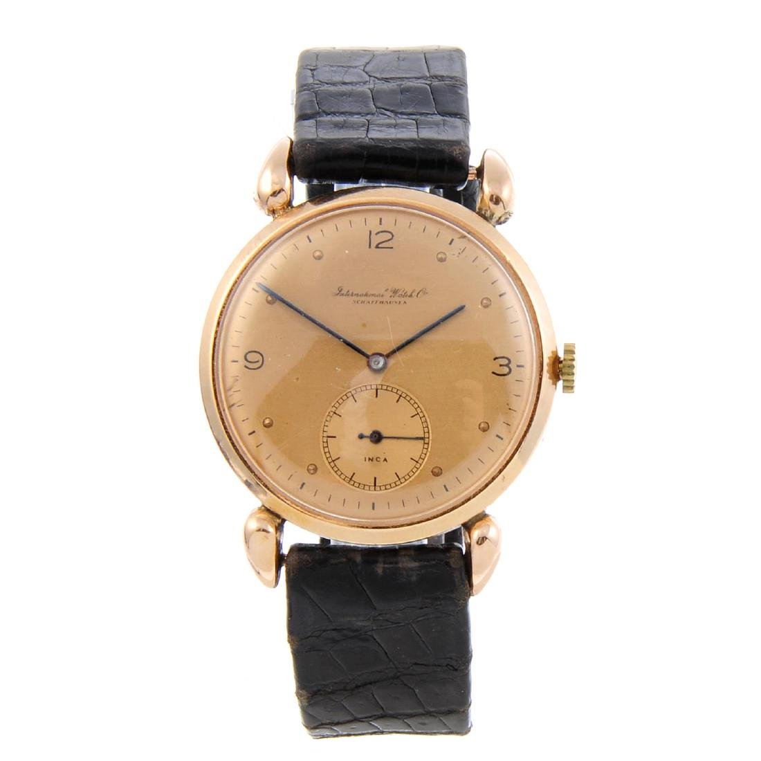 IWC - a gentleman's wrist watch. Rose metal case.