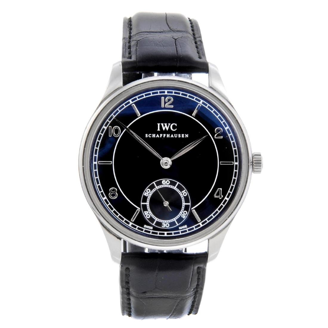 IWC - a gentleman's Portuguese wrist watch. Stainless