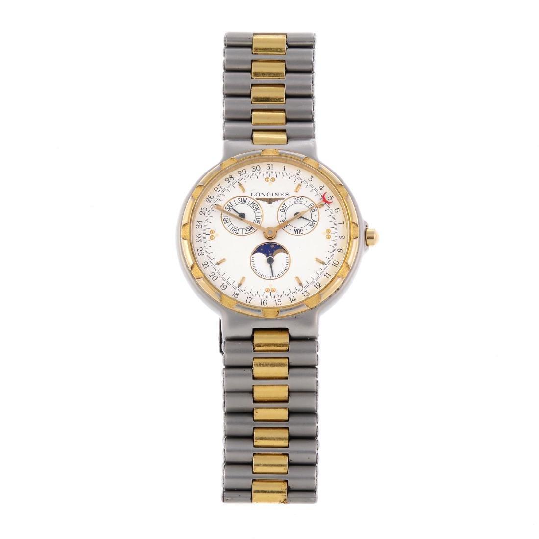 LONGINES - a gentleman's Conquest triple-date bracelet
