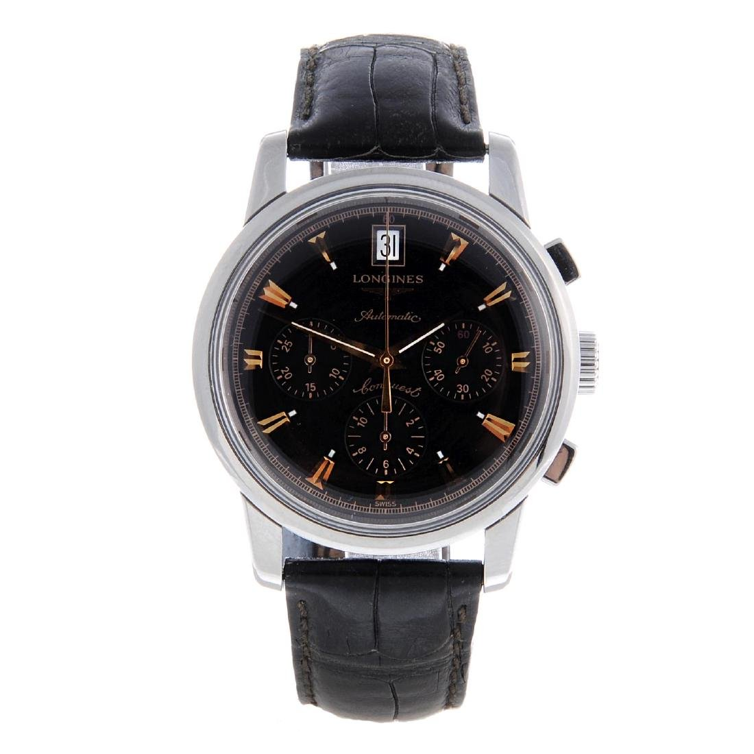 LONGINES - a gentleman's Conquest chronograph wrist